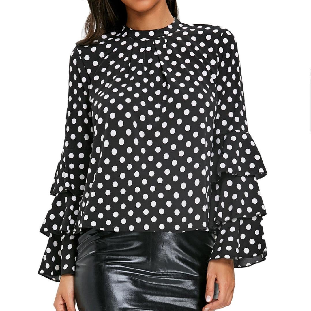 Bafaretk Fashion Womens Ruffles Dot Printing Blouse Long Sleeve T-Shirt Fare Sleeve Tops (XL, Black)
