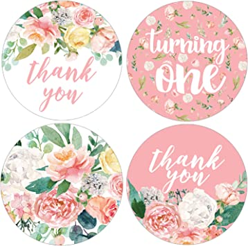 1.75 Pink Floral 1st Birthday Party Favor Labels 40 Stickers