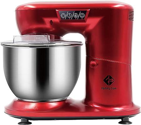 Family Care Robot de Cocina Batidora Amasadora Repostería de 1000 W Potencia. Bol 4.5L Acero Inoxidable. 3 Accesorios. Color Rojo: Amazon.es
