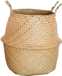 Seagrass Wickerwork Basket Rattan Hanging Flower Pot Dirty Laundry Hamper Storage Basket Sale,L