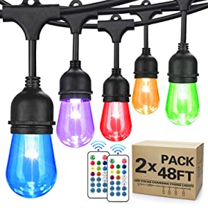 2-Pack 48FT Color Changing Outdoor String Lights, RGB Cafe LED String Lights with 32 S14 Shatterproof Edison Bulbs Dimmable, Commercial Lights String for Patio Backyard Garden, 3 Remote Control, 96FT