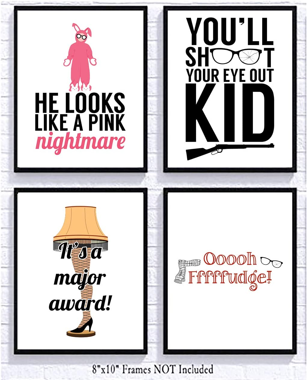 Silly Goose Gifts Christmas Movie Art Prints (Set of Four) 8x10in Signs Decoration Decor You'll Shoot Your Eye Out