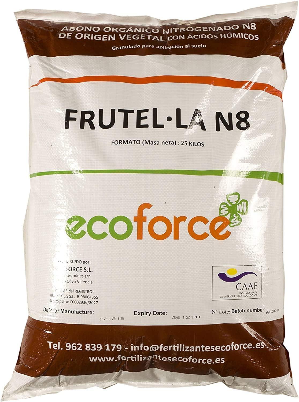CULTIVERS Abono - Fertilizante Ecológico Universal de 25 kg, granulado con NPK 8-1-5+74% M.O. y Ác. Húmicos. Liberación Lenta. Potencia el Crecimiento y estimula el cultivo. FRUTELLA