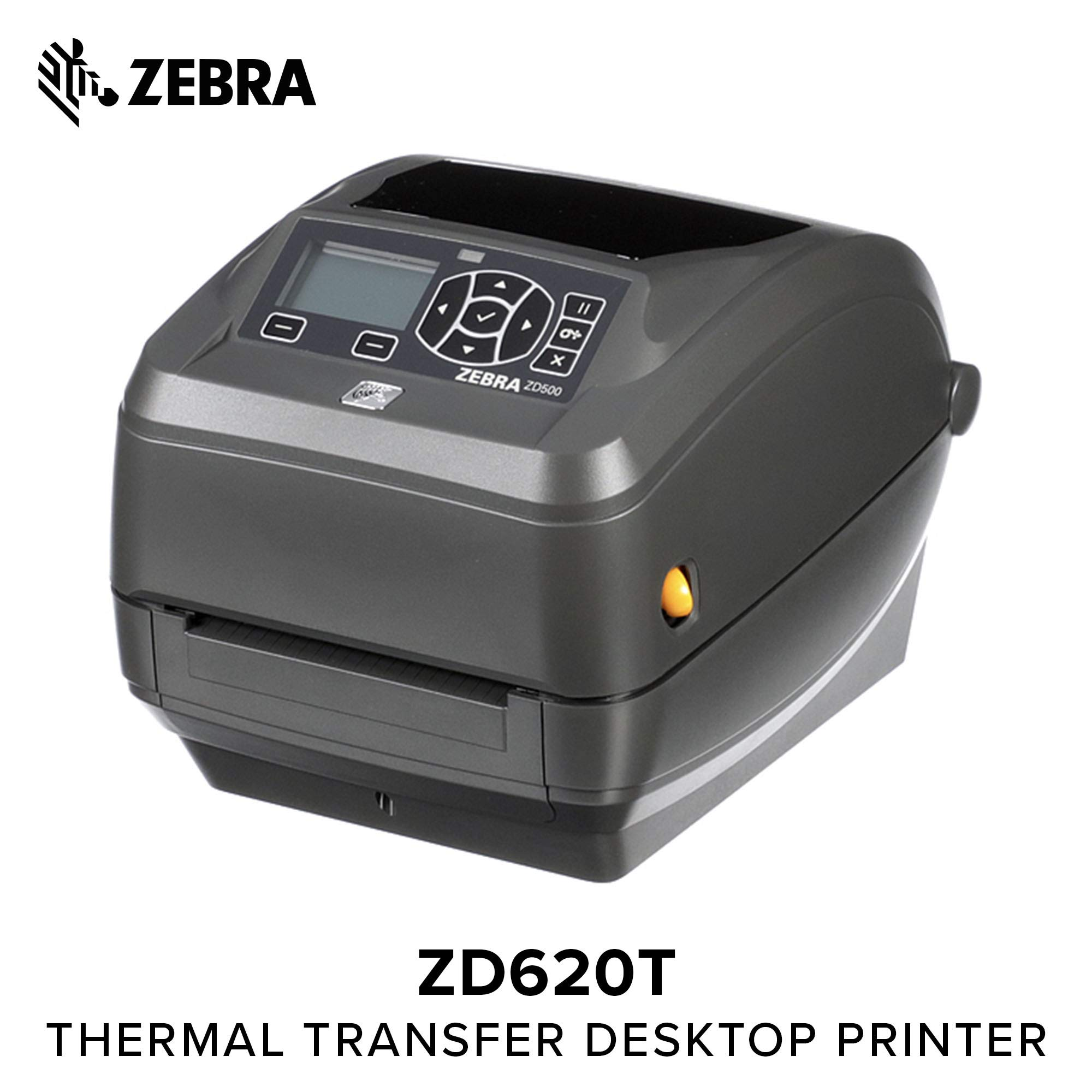 Zebra - ZD620t Thermal Transfer Desktop Printer for Labels and Barcodes - Print Width 4 in - 203 dpi - Interface: Bluetooth LE, Ethernet, Serial, USB - ZD62042-T01F00EZ