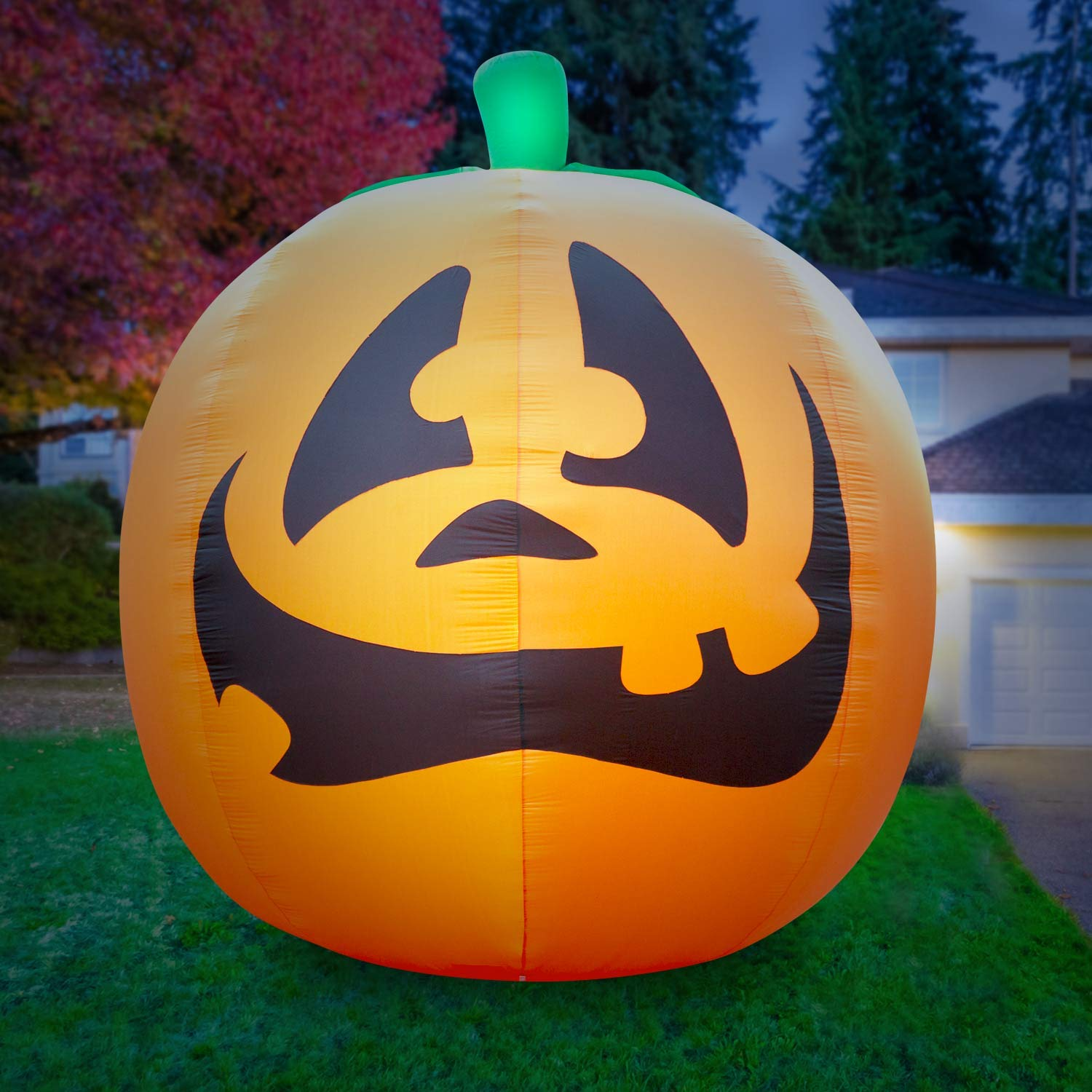 Holidayana Giant 10 Ft Airblown Inflatable Halloween Pumpkin- Inflatable Halloween Decoration with Super Bright Internal Lights, Built in Fan & Anchor Ropes HD-GP