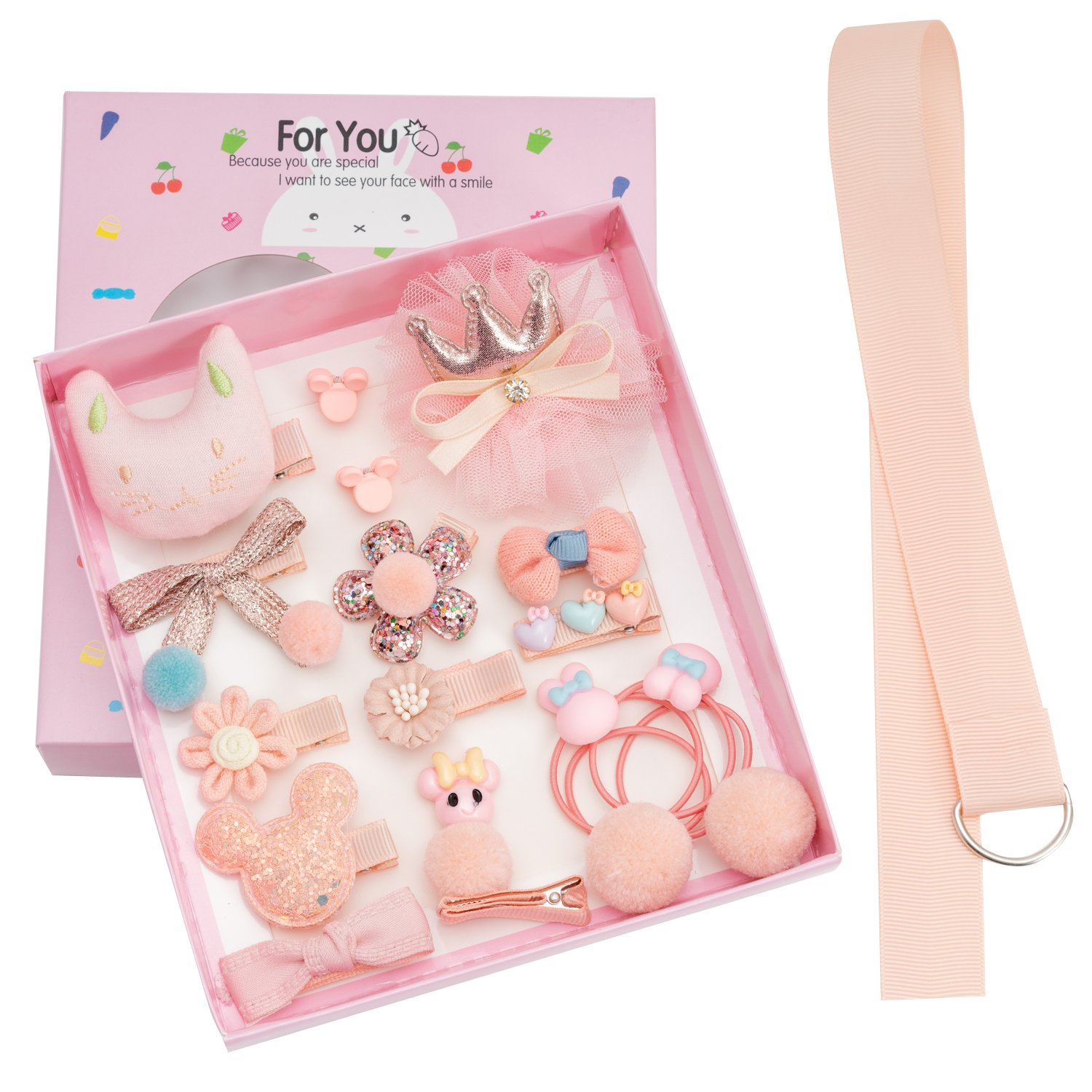 18pcs Toddler Girl Hair Clips Baby Kids Bowknot Barrette Hair Band Birthday Gift (Pink)