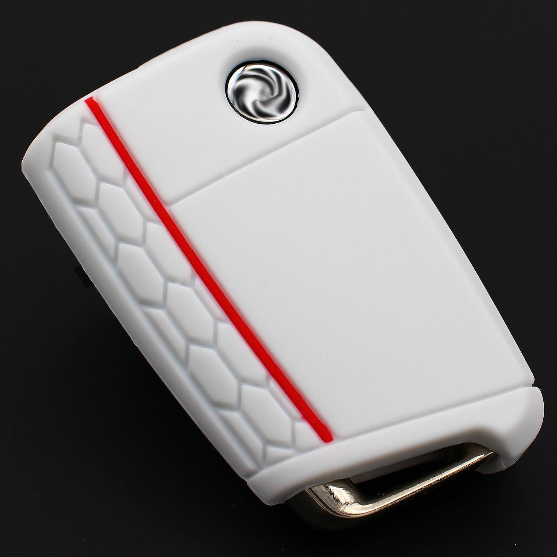 Finest Folia Schlüssel Hülle Vb Für 3 Tasten Auto Schlüssel Silikon Cover Schlüsselhülle Etui Schutzhülle Weiß Rot Auto