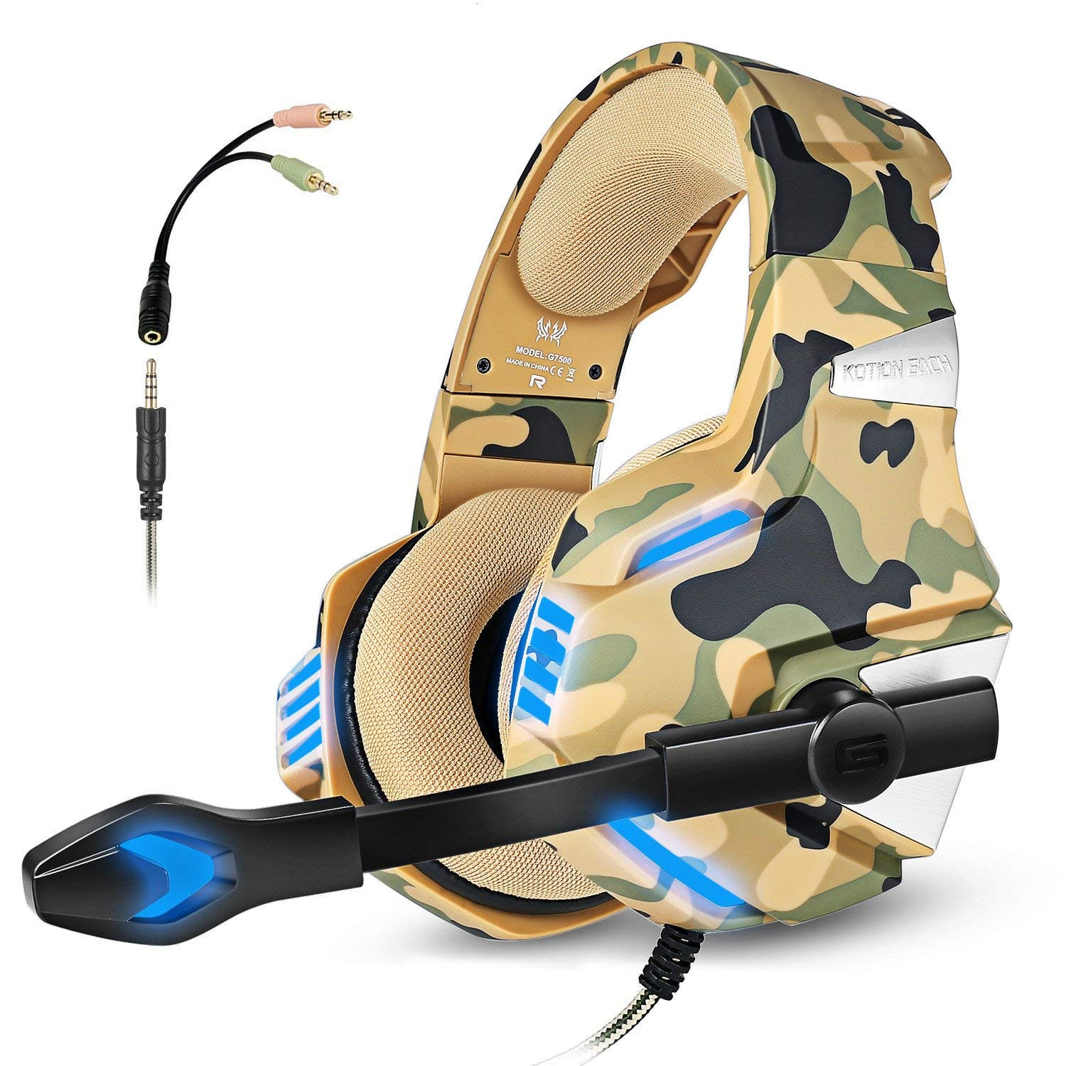 f00f9a8d8f4 Gaming Headset with Mic for PS4 Xbox One Controller PC Switch Tablet  Smartphone, Camouflage Stereo Over Ear Headphones Bass Surround Noise  Canceling ...
