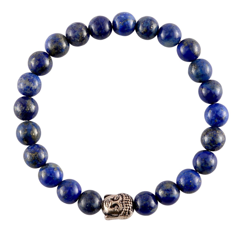 Aatm Reiki Energized Gift Natural Gemstone 7-8mm Round Beads Buddha Beaded Lapis Lazuli Gemstone Chakra Stretch Bracelet Unisex For Healing (Stone Of Enlightenment, Balancing, Energy, Honesty,Healing)