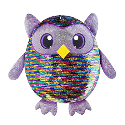 "SHIMMEEZ, Large Size Leo Owl, Sequin Plush Stuffed Animal, 8"" Inch Plush: Toys & Games"
