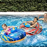Banzai Aqua Blast Motorized Bumper Boat Blue ( Spring Summer Inflatable Air Water Splash Pool Float Backyard Fun Toy with spray Blaster )