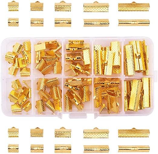 PandaHall Elite 80 pcs 4 Colors 2 Sizes Ribbon Ends Clamp Crimps Cord Ends with Loop for Bracelet Jewelry DIY Craft Making 35MM//45MM