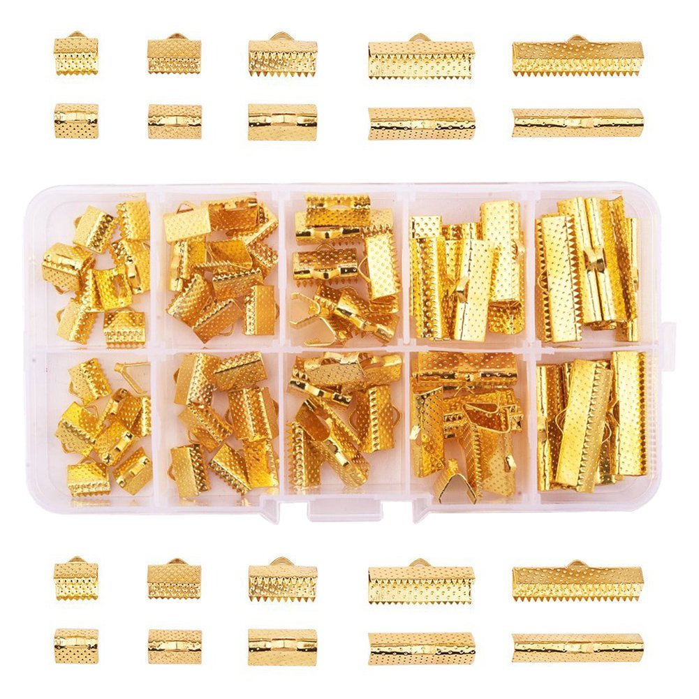 PandaHall Elite 120PCS Nickel Free Ribbon Ends Bracelet Bookmark Leather Pinch Crimps Mixed Color in One Box 10x7x5mm for Jewelry Craft Supplies