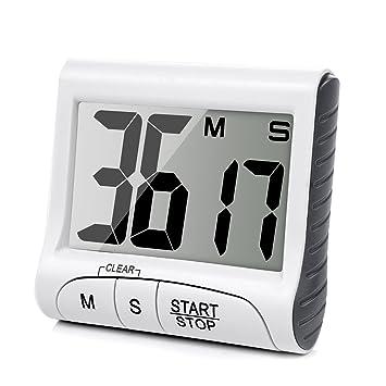 Temporizador Digital Time de Cocina Magnético LCD Grande Digital Cocina Temporizador Alarma Contar Hasta y Abajo Reloj - SLAGO: Amazon.es: Hogar