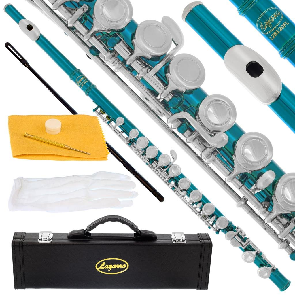 120-SB - SEA BLUE/NICKEL Keys Closed C Flute Lazarro+Pro Case,Care Kit - 22 COLORS Available ! CLICK on LISTING to SEE All Colors 71gfHCvgU8L