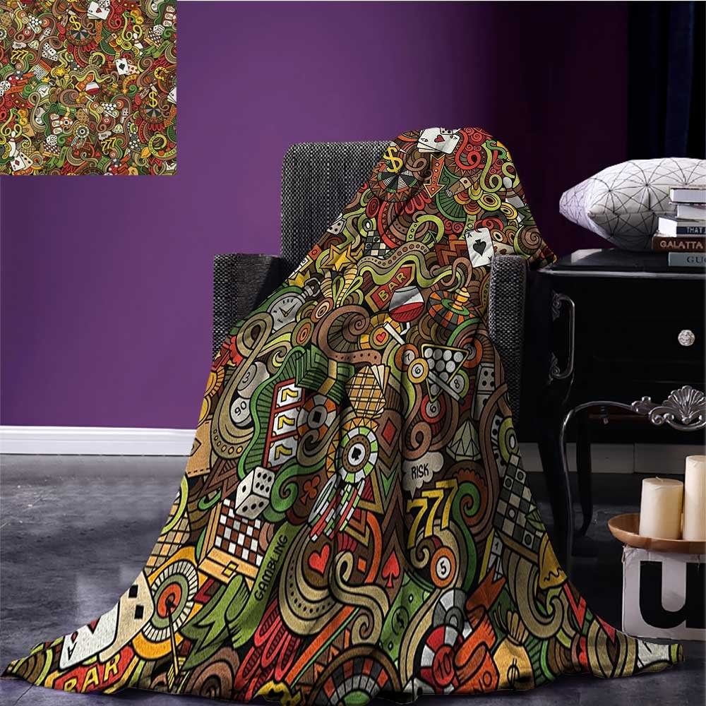 Casino wearable blanket Doodles Style Artwork of Bingo and Cards Excitement Checkers King Tambourine Vegas security blanket Multicolor size:60''x80'' by Anniutwo