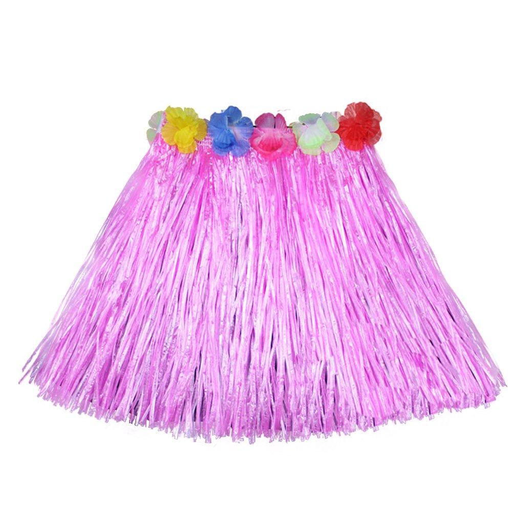 Luau Beach Party Halloween Costume Party Hawaiian Dance Hula Skirt Grass Skirt, Pink(pack of 3)
