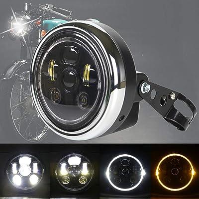 DDUOO Black 7inch LED Motorcycle Headlight with Headlight Housing Crystal W/Y Halo Ring for Yamaha Kawasaki Suzuki Honda CB400 Hornet Cafe Racer: Automotive