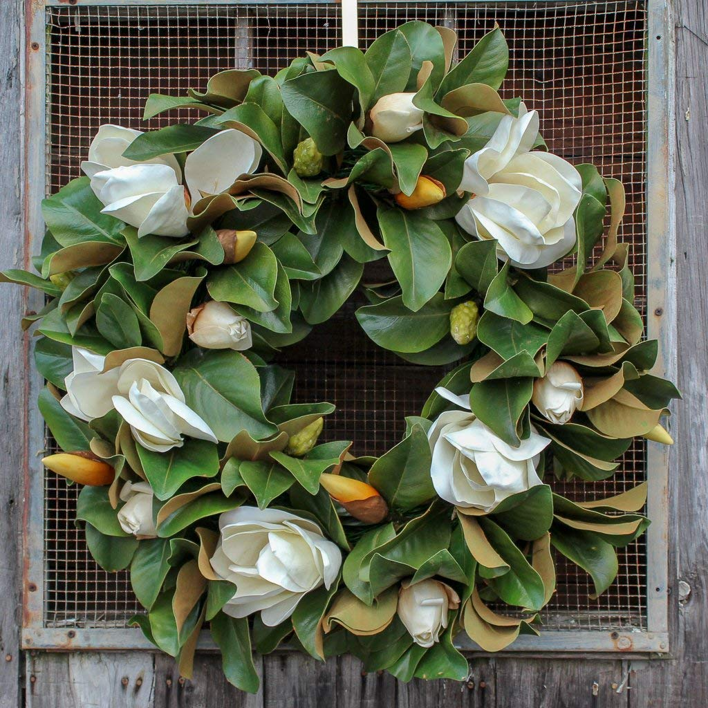 Darby Creek Trading Classic Real Touch White Magnolia Leaves Everyday Decor Spring Wreath 30'' by Darby Creek Trading (Image #2)