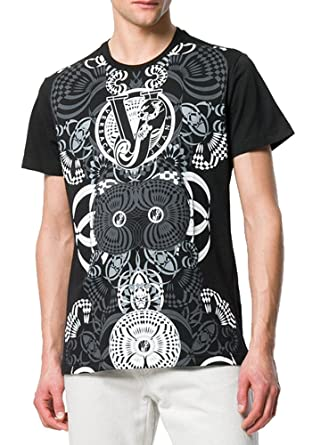 1dd4ae02 Amazon.com: Versace Jeans Pluto All Over Print Tee, Black ($175) (XL ...