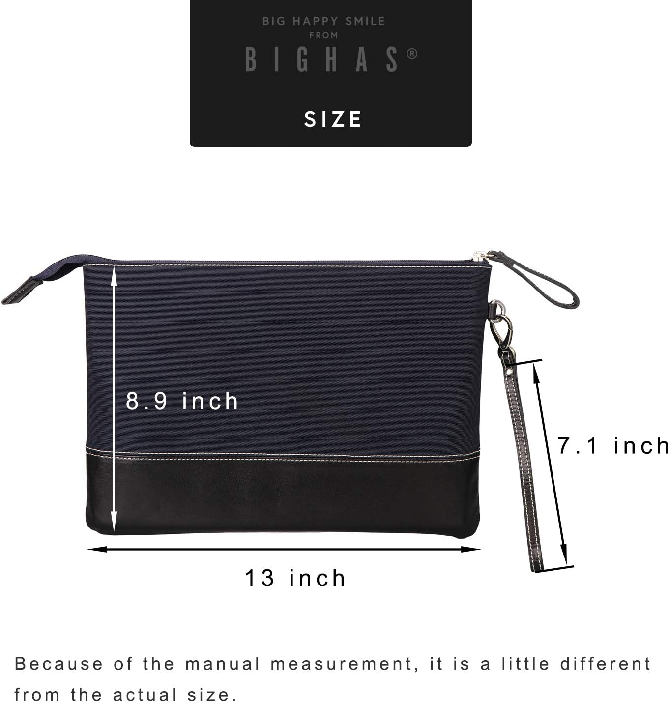 BIGHAS Mens Clutch Bag Handbag Briefcase US Letter Large Size Long Wrist Strap Nylon Genuine Leather Business Daily Commuting Zipper 2 Color Green+Brown
