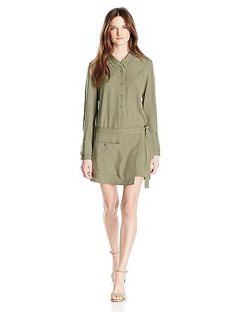 298c388e20d2 Amazon.com  Halston Heritage Women s Long Sleeve Romper Faux Wrap ...