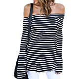 ZJCT Womens Sexy Off The Shoulder Tops Belled Long Sleeve Shirts Striped Juniors Casual Tops