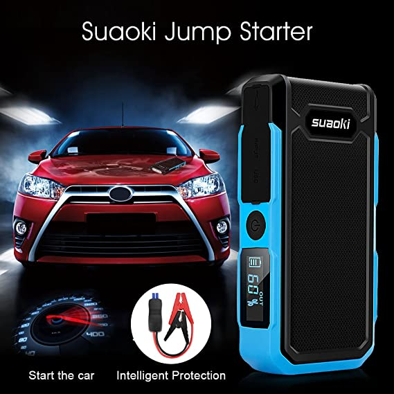 SUAOKI U10 Car Jump Starter 800A 20000mAh Battery Booster Pack with Intelligent Jumper Leads and Force Start Function for 12V Auto 6L Petrol 5L Diesel Motorcycle Van SUV Tractor Truck
