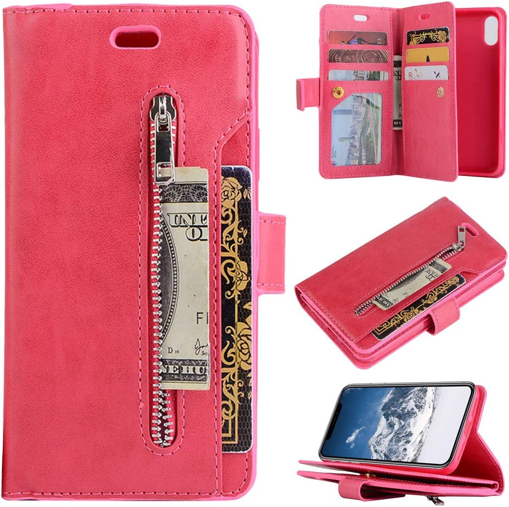 Compatible con Funda de Cuero para iPhone XR, Funda Plegable de Cuero con Tapa 9 Ranuras para Tarjetas Cierre Magnético Cubierta Protectora Antigolpe Bumper Carcasa Compatible con iPhone XR, Rojo
