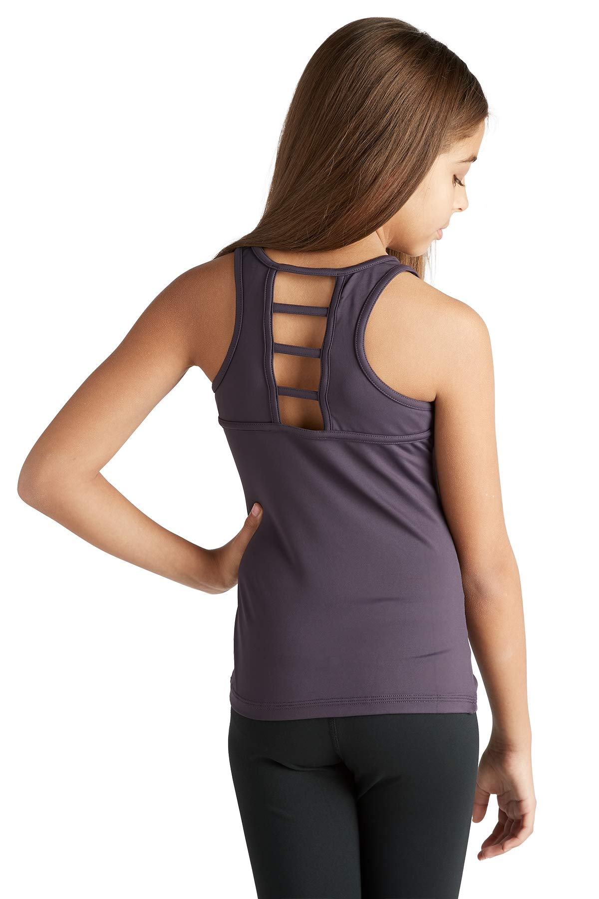 Liakada Girls Wide Strap Ladder-Back Tank Top for Dance, Gym, Yoga, Cheer! Plum by Liakada