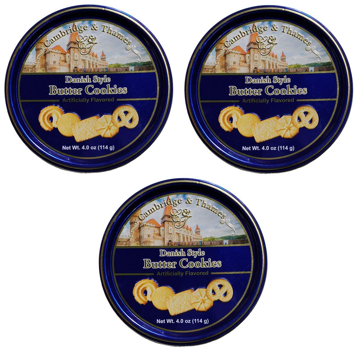 Cambridge and Thames Danish Butter Style Butter Cookies - 4 Oz. Mini Gift Tin - 3 Pack