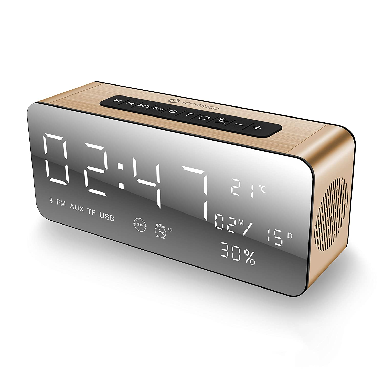 ICE-BINGO Bluetooth Speakers, A10 Wireless Bluetooth Home Stereo Speaker with HD Sound/Bold Bass, Alarm Clock/FM for Echo Dot, iPhone,,Android(Gold)