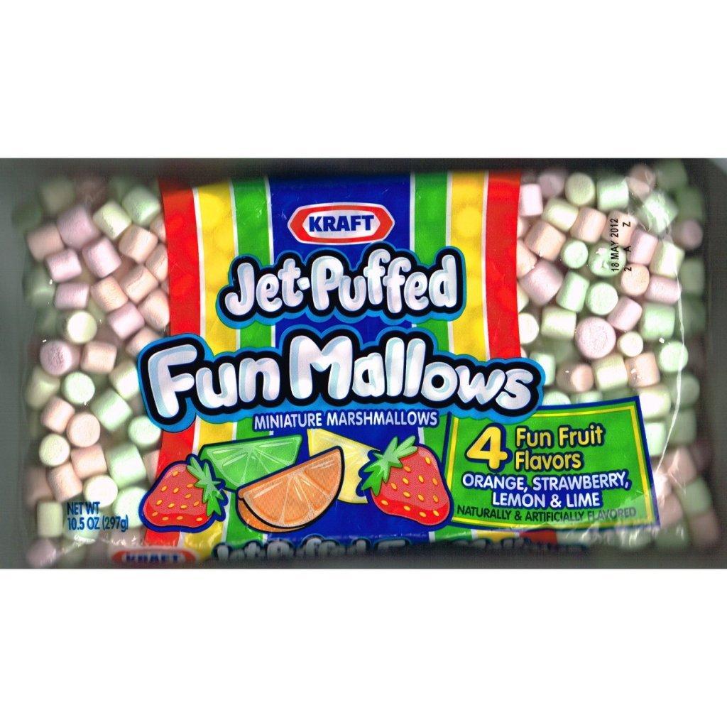Kraft Jet-Puffed Fun Mallows Fruit Flavors 10.5 Ounce (Pack of 3)