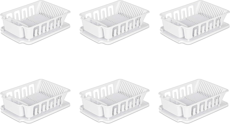 Sterilite 06278006 Large 2-Piece Sink Set, White, 6-Pack