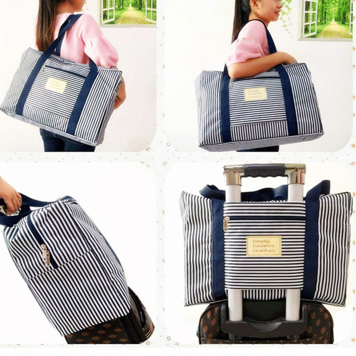 Oxford Fabric Clothes Bag Mxcell 90l Large Storage Bag Thick Ultra Size Under Bed Storage Striped Moving Zip Tote Bag Moisture Proof 23 6 X 19 7 X 11 8