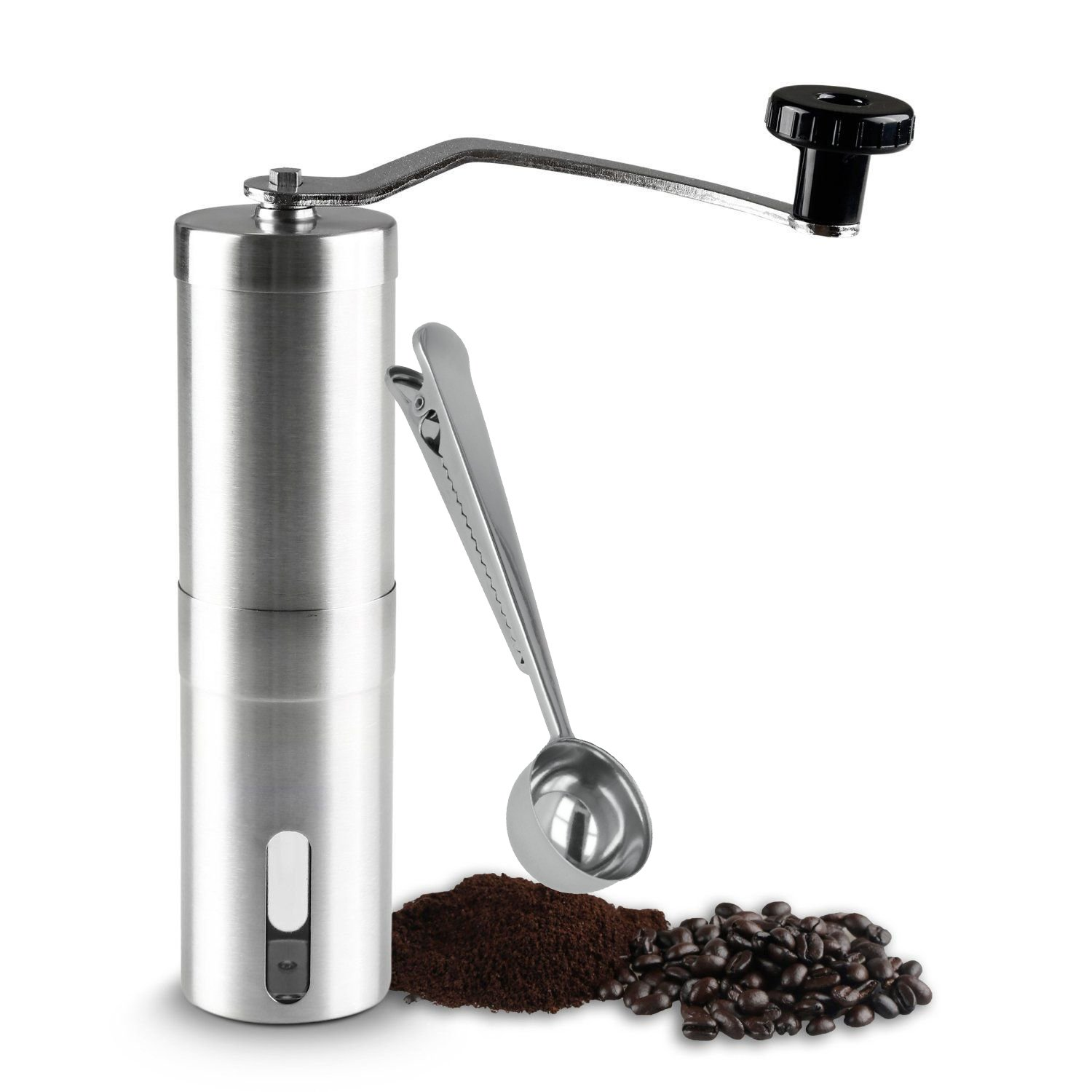 TraderPlus Stainless Steel Manual Coffee Grinder Top rotated Hand Crank Conical Burr Mill with Measuring Scoop Clip