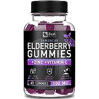 100% Natural Sambucus Elderberry Gummies for Kids & Adults (60 Count | 100mg) w/ Coconut Oil, Zinc and Vitamin C - Immune System Booster for Kids & Adults - Immune Support Gummy Vitamins