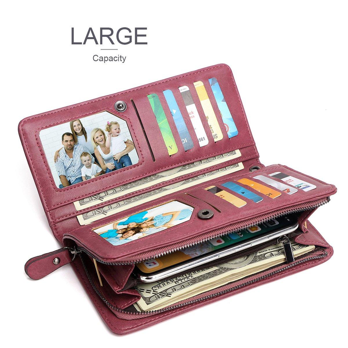 fcd8f6bff96f APHISONUK Women Leather Long Wallet Large Capacity Zipper Purse/Gift ...