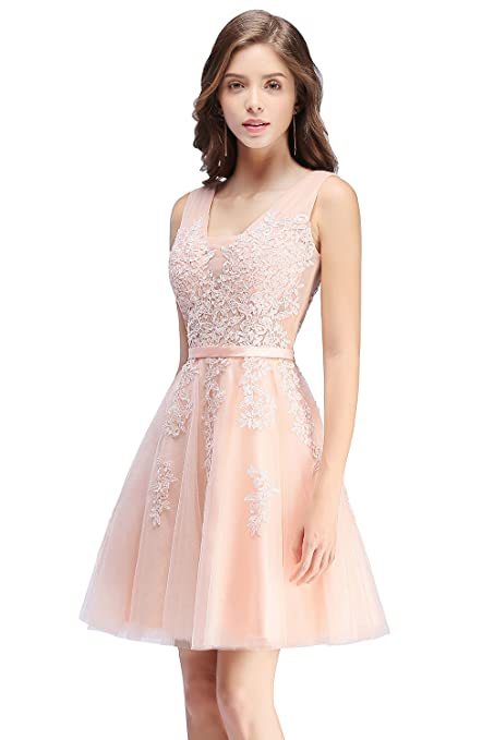 551425129f Babyonline Lace Tulle Prom Dresses Short V Neck Bridesmaid Homecoming Gown  at Amazon Women s Clothing store