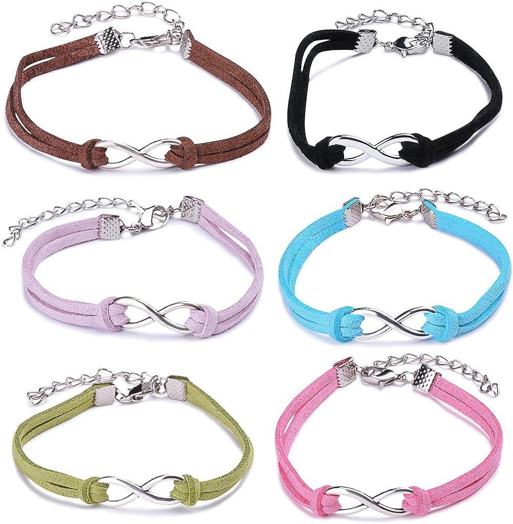 Yumilok -Juego de Pulseras Bracelete de Cuero Trenzado con Adorno de Aleación en Forma de Símbolo de Infinito para Mujer y Niña, Set de 6 Unidades