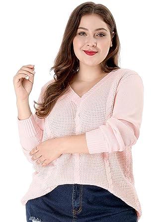eb2bd2cfff Agnes Orinda Women s Plus Size Knit Jersey Loose Long Sleeve Winter V Neck  Sweater 1X Pink