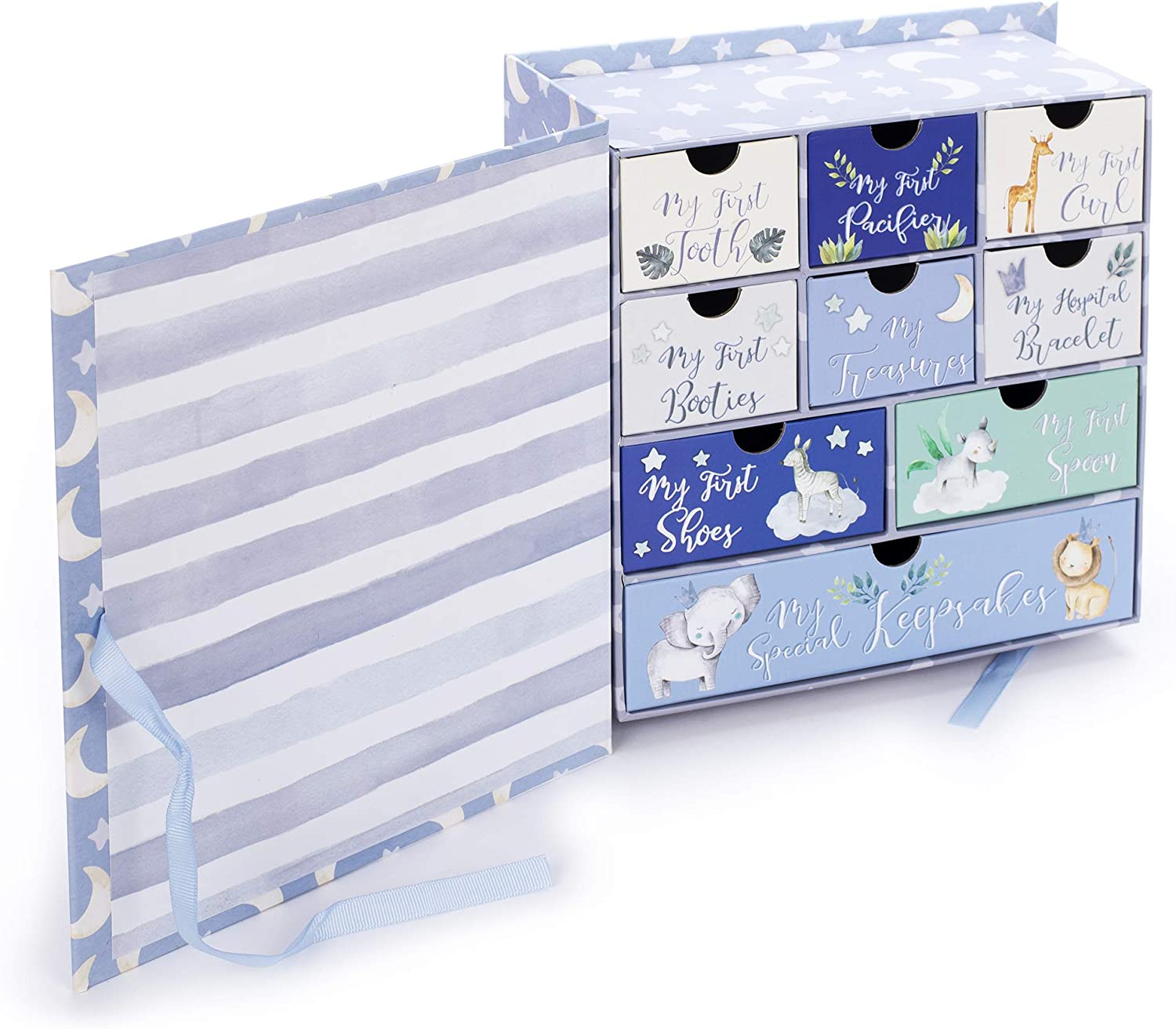 Tri-Coastal Design Baby/'s First Keepsake Memory Box with 9 Drawers to Hold a Child/'s Special Mementos and Treasures Grey Moon and Stars