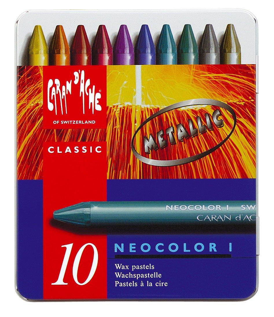 Neocolor I Water-Resistant Wax Pastels, 10 Metallic Colors by Caran d'Ache