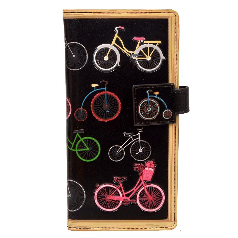 Shag Wear Women's Large Zipper Wallet Vintage Bicycles Black