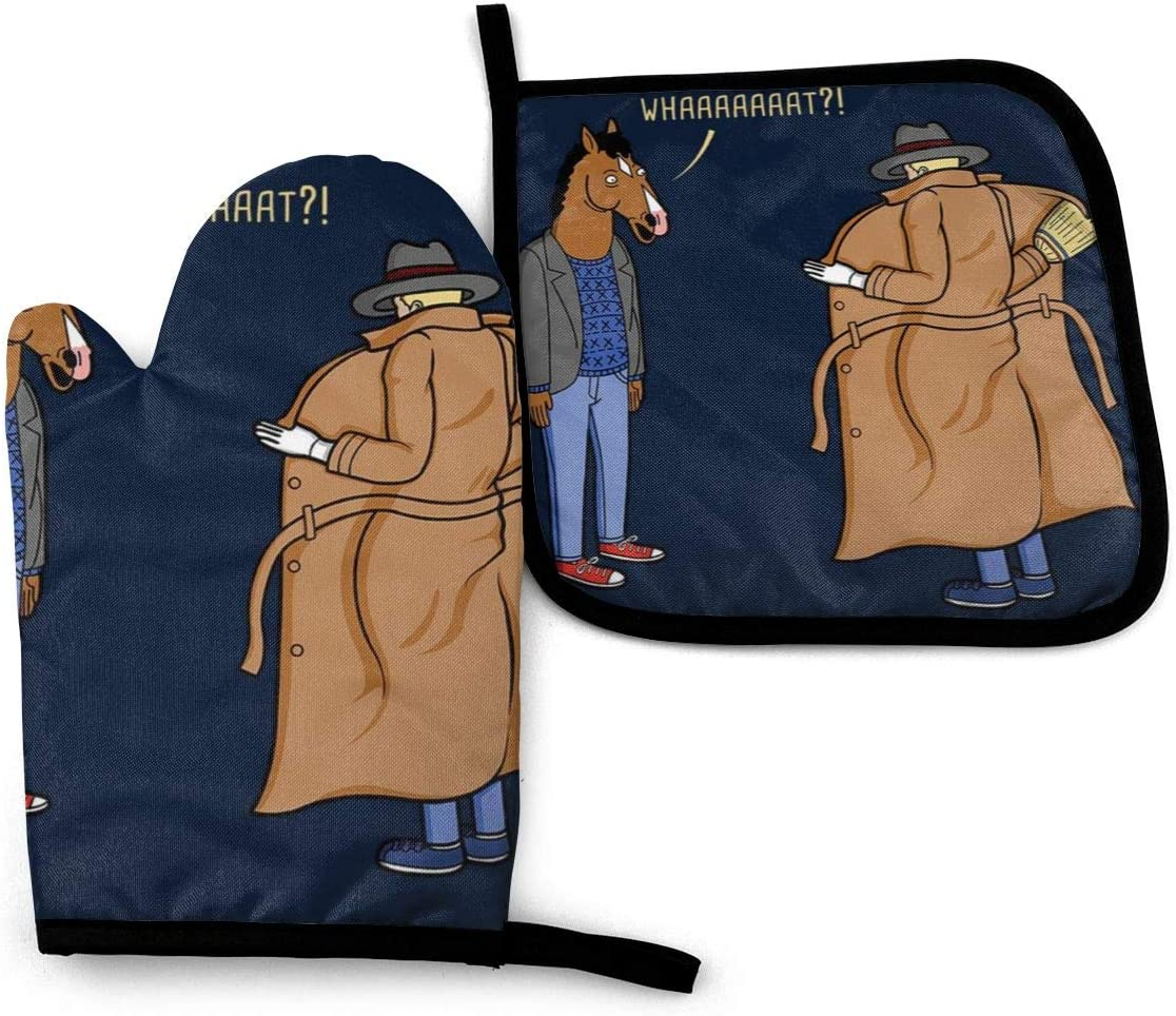 SDFDFGD Trench Coat BoJack Horseman -Oven Mitts and Pot Holders Heat Resistant Kitchen Bake Gloves Cooking Gloves