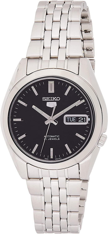 SNK361K 1–5Seiko Reloj automático Hombre analógico Esfera Negra Correa de Acero Color Gris