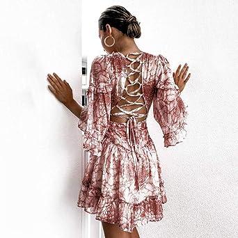 Shenye Mode Sexy Frauen Kleid Volle Hülse Tiefem V-Ausschnitt Druck Grenze Beach Party Minikleid Rüschen Flare Ärmel Backless Lace-up Aushöhlen Über dem Knie Mini Ballkleid Damska Kleid Rosa: Odzież