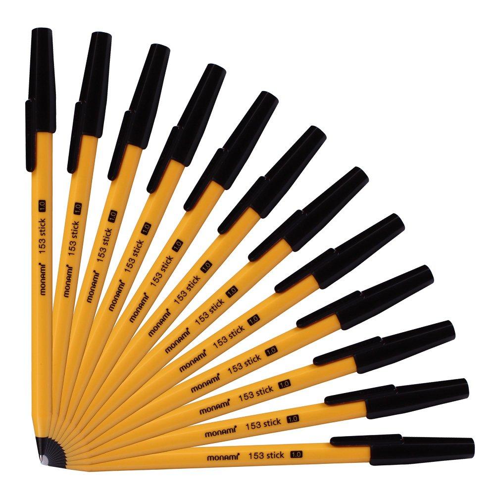 Monami 153 Sticks Ballpoint Pen 1.0 Mm Dozen Box (Black Ink)
