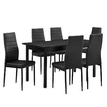 [en.casa]®] Juego de Comedor - Mesa Negra 140cm x 60cm x 75cm + sillas Negras 96 cm x 43cm