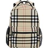 5019895e4 Plaid Beige Backpack Women Men Teen Girl Boy School Bag Purse Bookbag  Casual Daypack Supplies